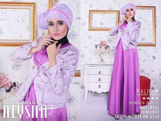 Neysha Beauty Bouqet Violet Baju Muslim Gamis Modern