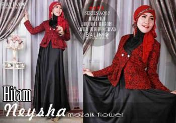 model baju gamis Pusat-Gamis-Terbaru-Balimo-Neysha-Mozaik-Flower-Hitam