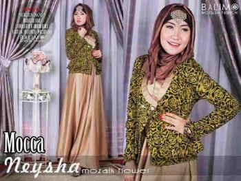 model baju gamis terbaru untuk pesta Pusat-Gamis-Terbaru-Balimo-Neysha-Mozaik-Flower-Mocca
