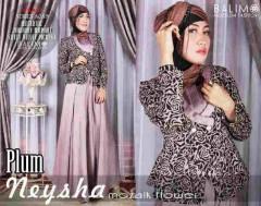 model baju gaun pesta Pusat-Gamis-Terbaru-Balimo-Neysha-Mozaik-Flower-Plum
