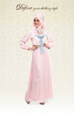 baju pesta muslim eksklusif Pusat-Gamis-Terbaru-Define-Sweeet-Romantic-Pink-Dress
