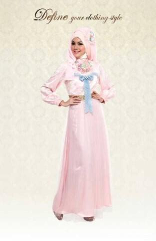baju pesta muslim eksklusif Pusat-Gamis-Terbaru-Define-Sweeet-Romantic-Pink-Dress