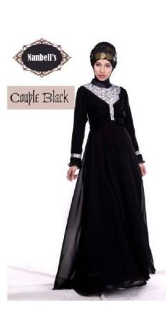 sarimbit couple muslim Pusat-Gamis-Terbaru-Syura-Dress-by-Nanbells-Black