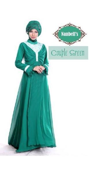 sarimbit couple keluarga Pusat-Gamis-Terbaru-Syura-Dress-by-Nanbells-Green