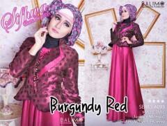 baju muslim modern full Pusat-Gamis-terbaru-Balimo-Sifhwa-Burgundy-Red