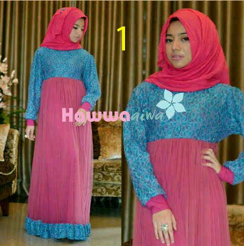 model baju muslim elegan Pusat-Gamis-terbaru-RAYA-TULE-by-Hawwa-Aiwa-kode-1