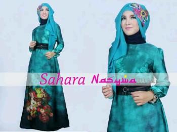 baju muslim modern wanita Pusat-Gamis-terbaru-SAHARA-by-Nasywanisa-Biru