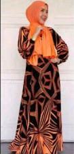 busana hijabers Pusat-Gaamis-Terbaru-Black-Mix-Neon-Colors-orange