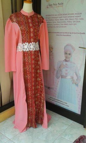 Model Baju Pesta Wedding Pusat-Gamis-Terbaru-Agamis-Dress-Pink Salmon