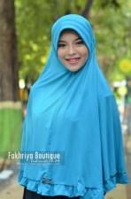 model baju pesta gaun muslim Pusat-Gamis-Terbaru-Bergo-Fakhriya-Biru-Tosca