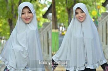 model baju pesta cantik Pusat-Gamis-Terbaru-Bergo-Fakhriya-Grey