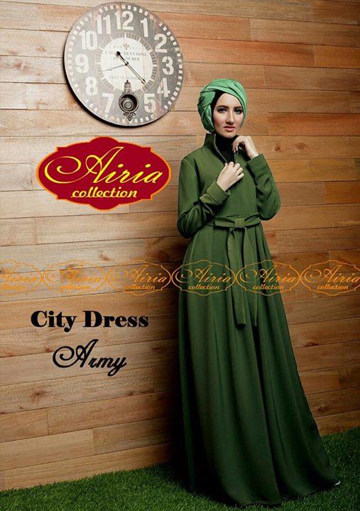 City Dress By Airia Army Baju Muslim Gamis Modern