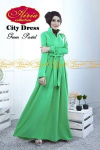 baju pesta wanita modern Pusat-Gamis-Terbaru-City-Dress-by-Airia-Green-Pastel