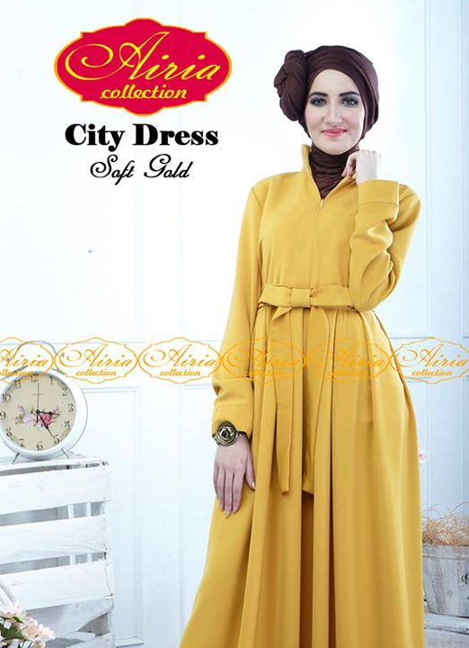 City Dress By Airia Soft Gold Baju Muslim Gamis Modern