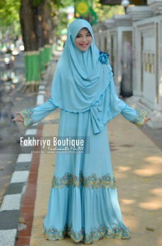 baju pesta pengantin Pusat-Gamis-Terbaru-Malika-Dress-By-Fakhriya-Biru