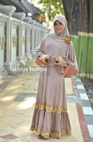 model baju gaun pesta muslim terbaru Pusat-Gamis-Terbaru-Malika-Dress-By-Fakhriya-Khaki