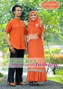 baju pesta modern Pusat-Gamis-Terbaru-Meyza-Couple-Merah-Bata