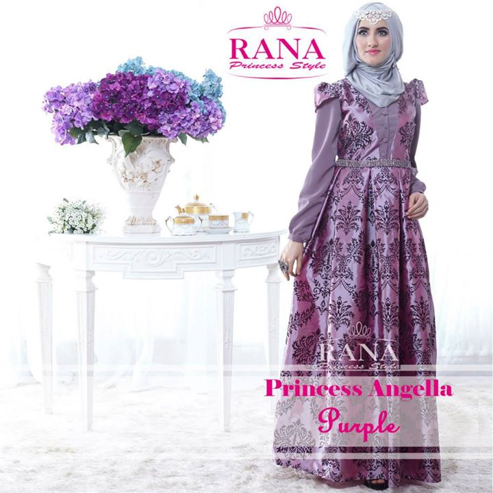 Princess Angella Purple Baju Muslim Gamis Modern