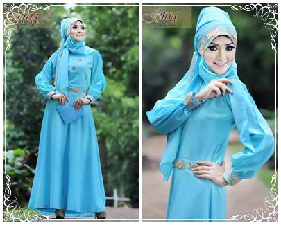 Syalwa By Fitria Style Biru Muda Baju Muslim Gamis Modern