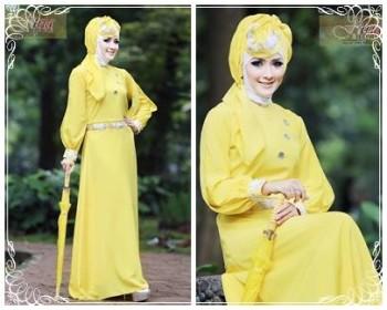 gaun pesta yang simple Pusat-Gamis-Terbaru-Syalwa-Dress-by-Fitria-Style-Kuning-Muda