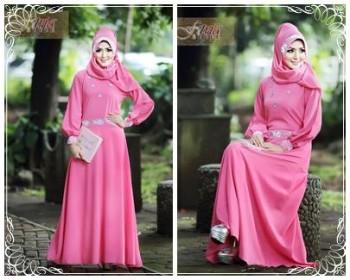 baju pesta pengantin Pusat-Gamis-Terbaru-Syalwa-Dress-by-Fitria-Style-Pink