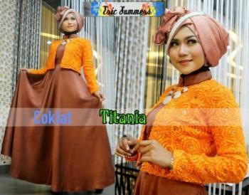 model baju pesta jilbab Pusat-Gamis-Terbaru-Titania-by-Ericsummer-Coklat