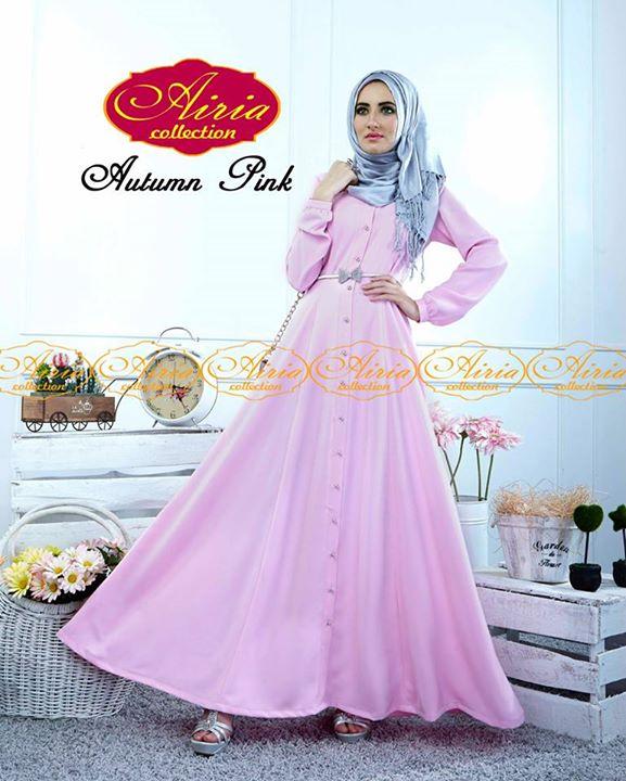 Autumn Dress Pink Baju Muslim Gamis Modern