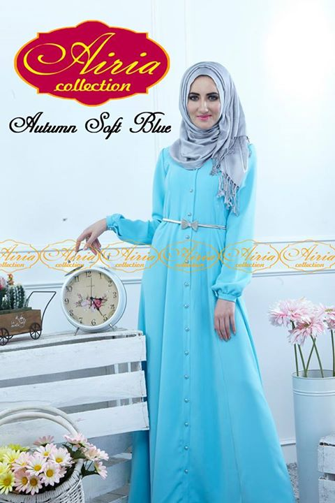 Autumn Dress Soft Blue Baju Muslim Gamis Modern