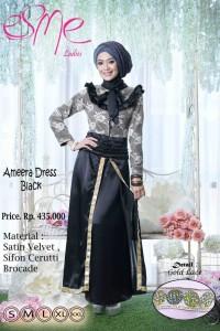 baju pesta muslim terbaru Gamis-Terbaru-Ameera-Dress-Black