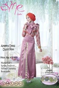 baju pesta family Gamis-Terbaru-Ameera-Dress-Dusty-Pink
