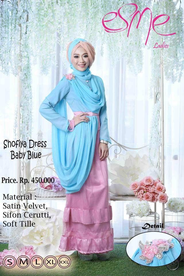 Esme Shofiya Dress Baby Blue Baju Muslim Gamis Modern