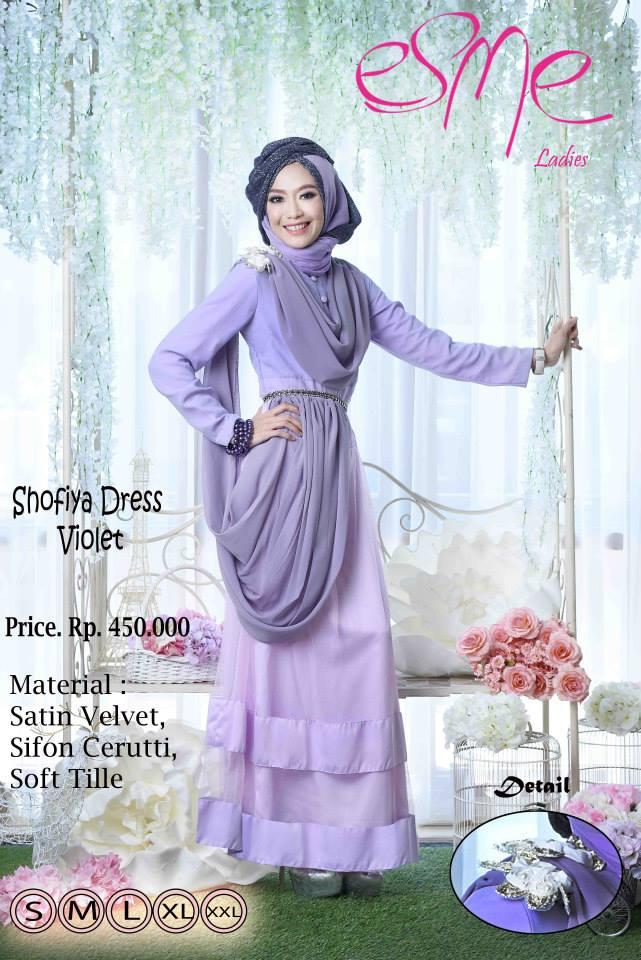 Esme Shofiya Dress Violet Baju Muslim Gamis Modern