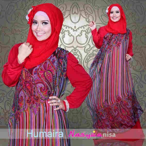 Humaira Dress Merah Baju Muslim Gamis Modern