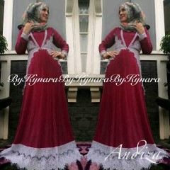 baju pesta simple elegant Pusat-Gamis-Terbaru-Andiza-By-Kynara-Maroon