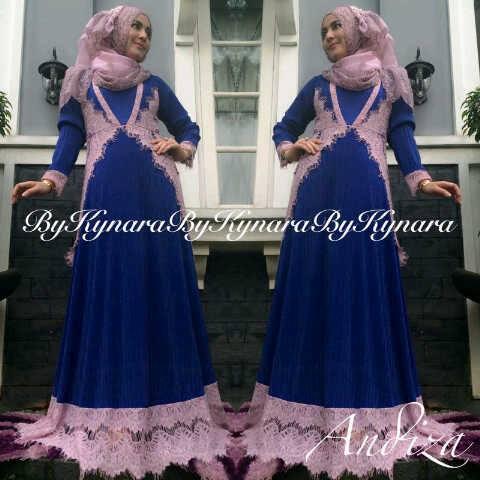 Andiza By Kynara Biru Elektrik Baju Muslim Gamis Modern