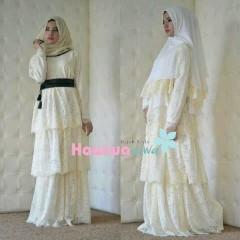 model gaun panjang pesta terbaru Pusat-Gamis-Terbaru-Arafah-Set-By-Hawwa-Aiwa-Broken-White