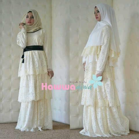 Arafah Set Broken White Baju Muslim Gamis Modern