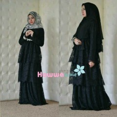 baju pesta pengantin muslim Pusat-Gamis-Terbaru-Arafah-Set-By-Hawwa-Aiwa-Hitam