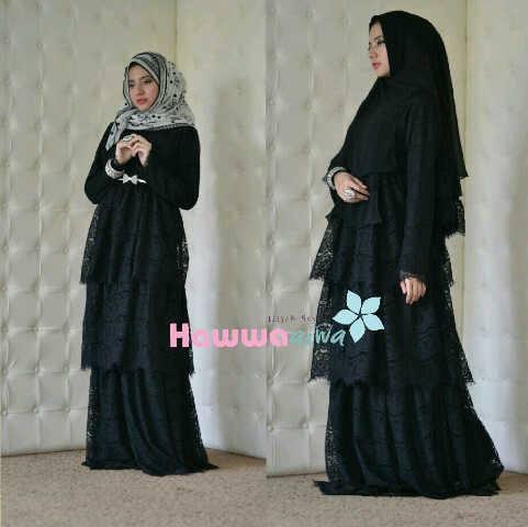 Arafah Set Hitam Baju Muslim Gamis Modern