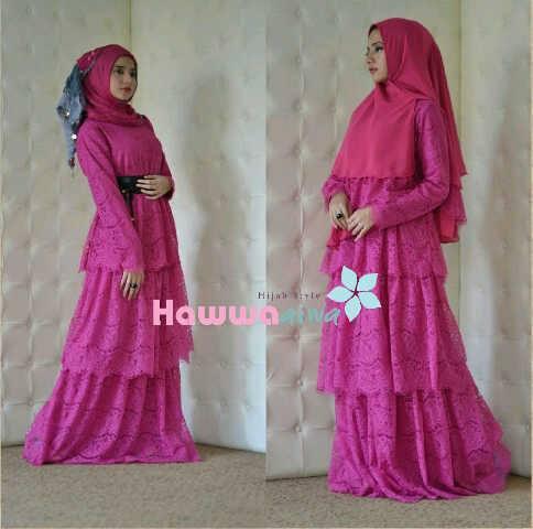 arafah set magenta baju muslim gamis modern