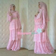 baju pesta untuk wanita berhijab Pusat-Gamis-Terbaru-Arafah-Set-By-Hawwa-Aiwa-baby-Pink