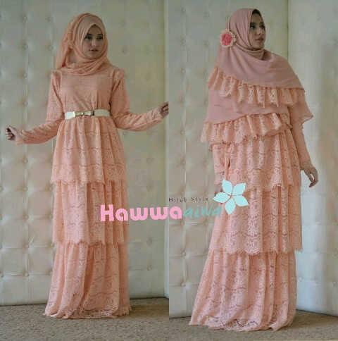 Arafah Set Peach Baju Muslim Gamis Modern