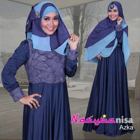 baju pesta wanita modern Pusat-Gamis-Terbaru-Azka-By-Nasywannisa-Abu-Tua