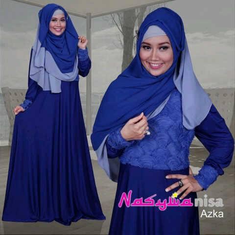 pakaian pesta wanita modern Pusat-Gamis-Terbaru-Azka-By-Nasywannisa-Biru-Elektrik