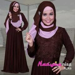 baju pesta Pusat-Gamis-Terbaru-Azka-By-Nasywannisa-Coklat-Tua