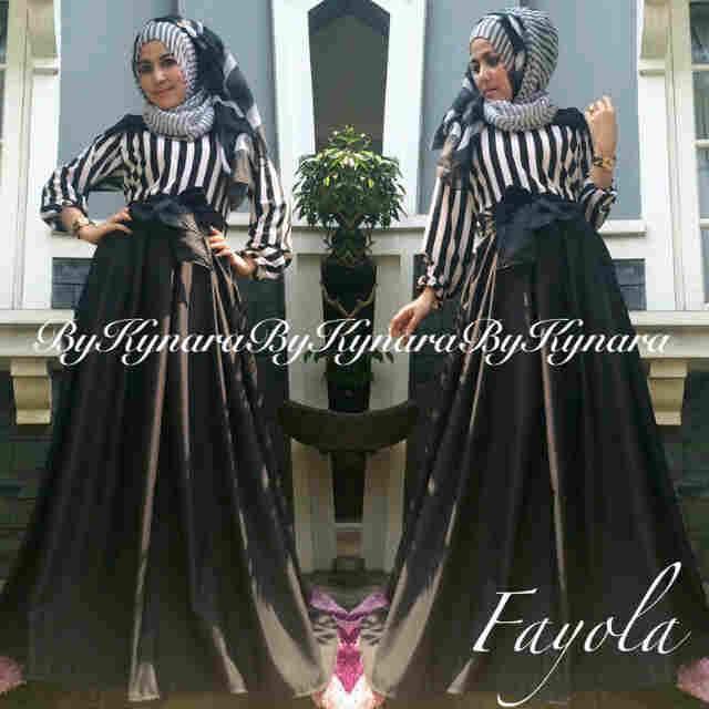 Fayola By Kynara Hitam Baju Muslim Gamis Modern