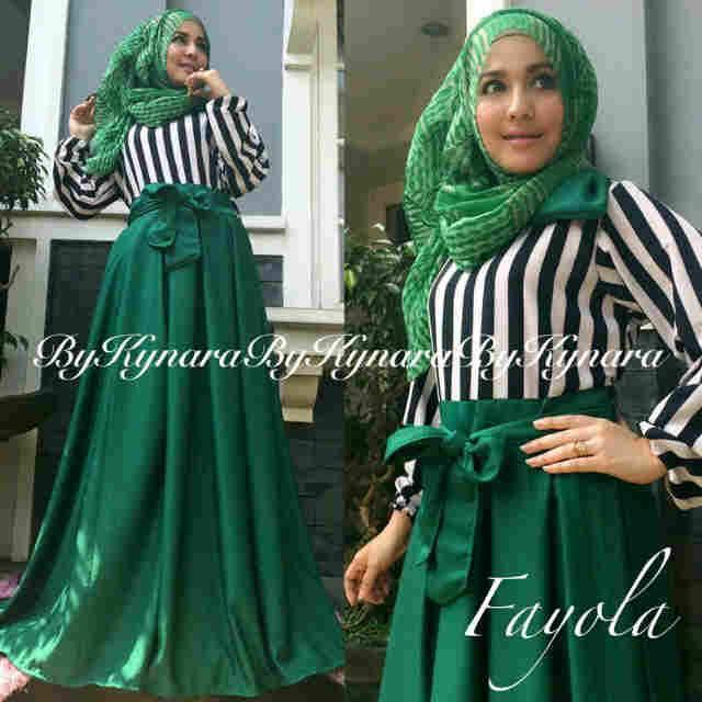 Fayola By Kynara Hijau Baju Muslim Gamis Modern