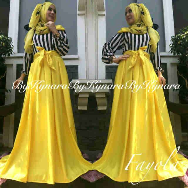 Fayola By Kynara Kuning Baju Muslim Gamis Modern