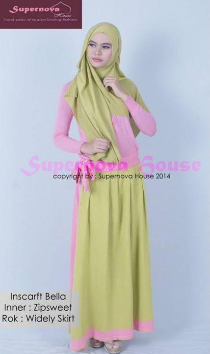 inscarft bella hijau alpukat baju muslim gamis modern