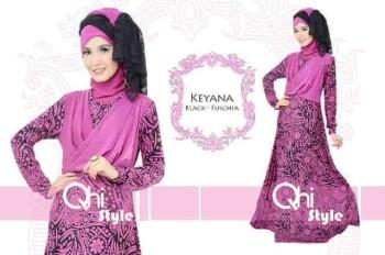 baju pesta hijab baju pesta elegance Pusat-Gamis-Terbaru-Keyana-By-Qhistyle-Black-Fuschia